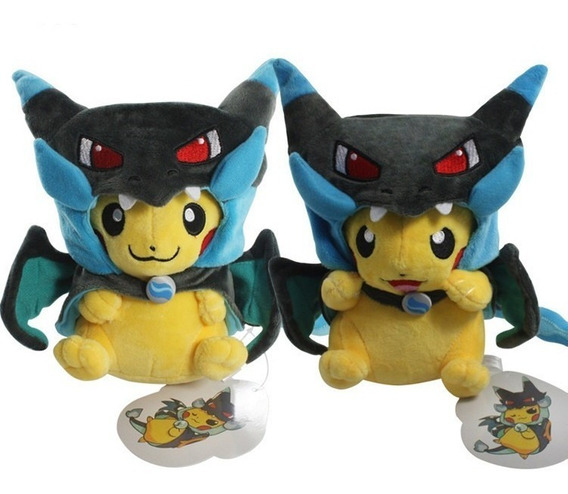 Pelúcia Pokemon Pikachu Mega Charizard X - Cosplay 22cm