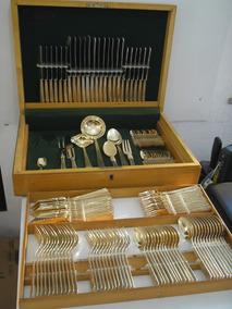 Raridade Faqueiro Eberle Dourado Com 128 Peças Anos 50 E Est