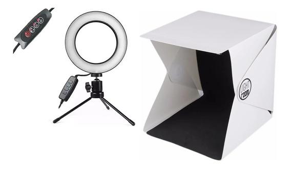 Kit Caixa Luz Box Estúdio Fotografico Ring Light Mesa Pro