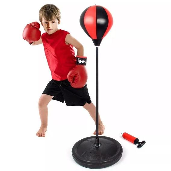 Set De Boxeo Guantes Niño Pera Deporte Punching Ball Nuevo