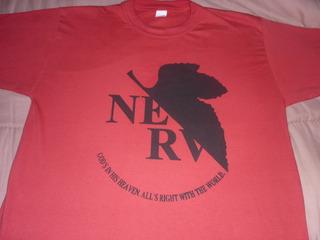 Impresionante Remera Neon Genesis Evangelion Anime Roja