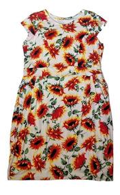 Vestido Feminino Plus Size Floral Malha Viscolycra Estampado