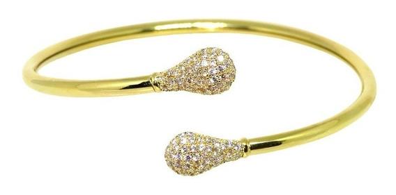 Pulseira Bracelete Rígido Cravejado Na Ponta Banhado A Ouro