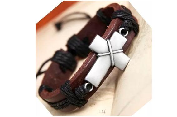 Linda Pulseira Em Couro Estilosa Crucifixo Importada Viking