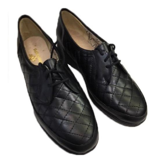 Zapato De Cuero Cómodo Para Damas Modelo 5026 / Negro