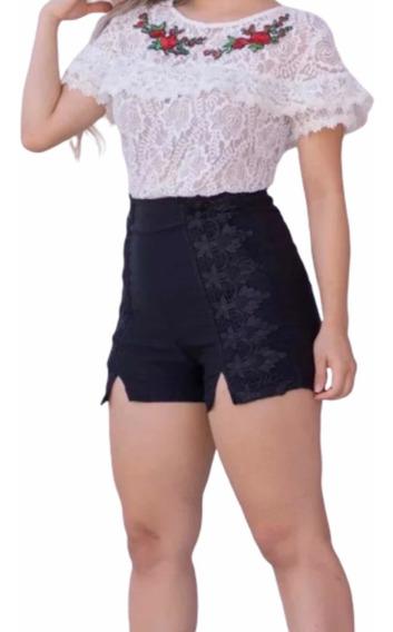 Shorts Feminino Cintura Alta Detalhe Fenda E Renda Guipir