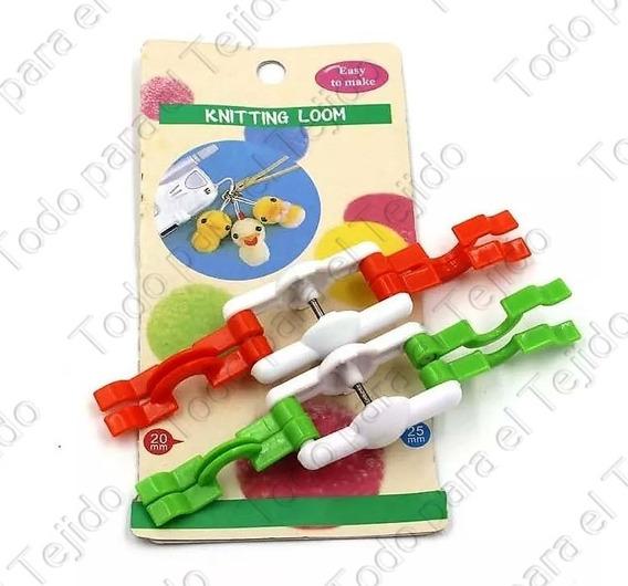 Crochet Set 2 Mini Poms Maker Pompom Hilo Kit Lana Souvenir