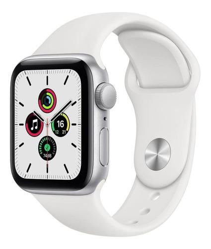 Imagen 1 de 9 de Apple Watch SE (GPS, 40mm) - Caja de aluminio color plata - Correa deportiva Blanca