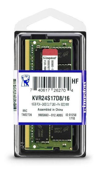 Memória Kingston Ddr4 2400mhz 16gb 1x16gb Notebook Laptop