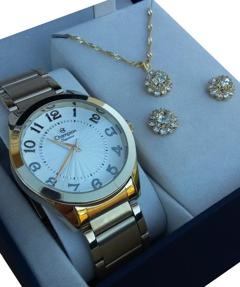 Relógio Feminino Champion Passion Dourado Cn25029w + Kit