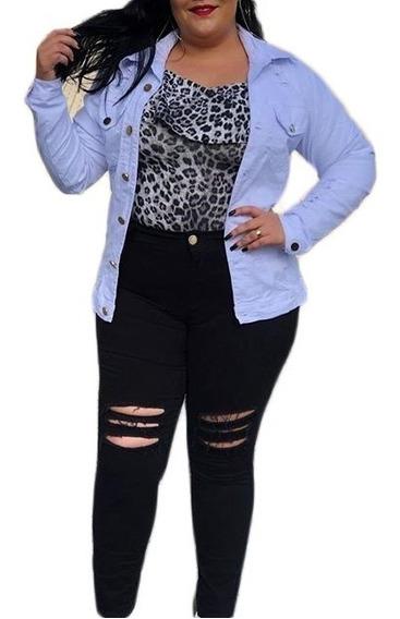 Jaqueta Jeans Plus Size Maxi Feminina Grande Promoção