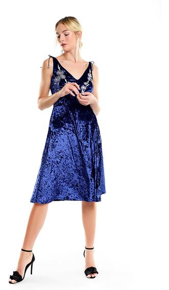 Vestido Midi Mujer Velvet Escote En V Color Azul Lob