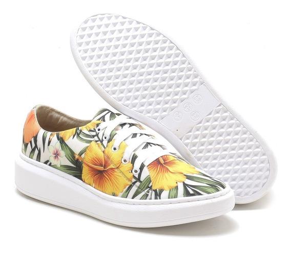 Tênis Feminino Estampa Floral Fashion Linha Conforto