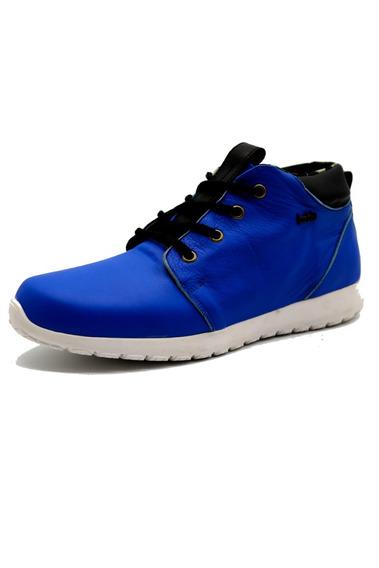 Zapatillas Panchas Cuero Hombre Urbana Azul Leblu 9013