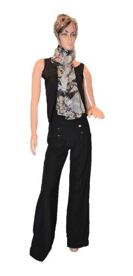 Desiderata Pantalon Negro Oxford De Vestir Con Botones