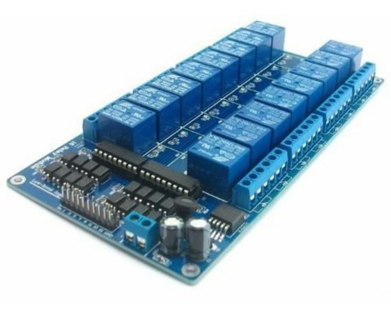Módulo Relé 16 Canais 12v Com Optoacopldor Para Arduino