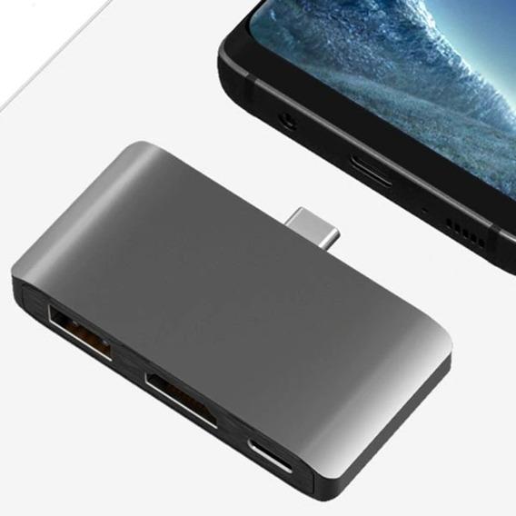 Hub Tipo C 3.0 Hdmi Macbook S8 S9 Note 8 Pc Usb Dex 1 Preto