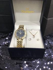 Kit Relógio E Jóia Champion Cn20444x