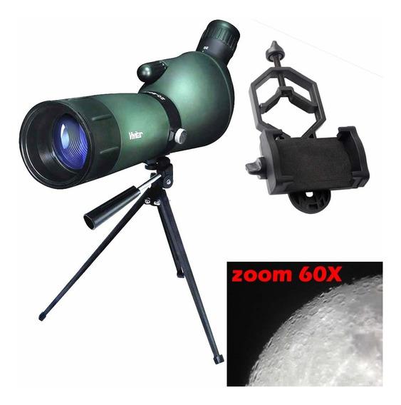 Luneta Telescopio 20-60x60 Bak-4 + Tripe + Adaptador Celular