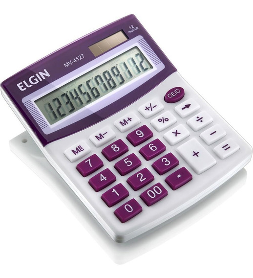 Calculadora De Mesa 12 Dígitos Roxa Mv4127 Elgin 24457