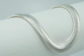 Pulseira De Prata 925 Maciça Lacraia 20cm X 10mm & 15 Gramas