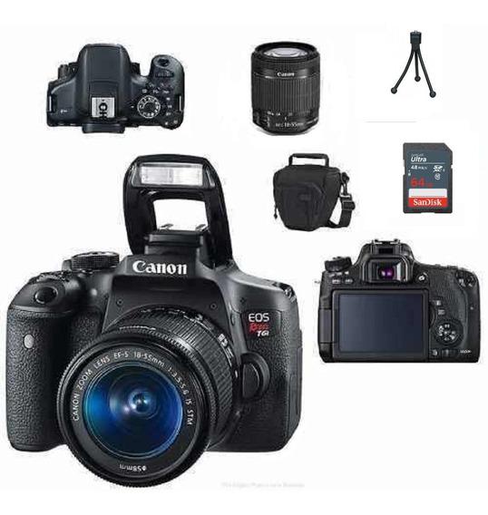 Câmera Canon Rebel T6i C/ 18-55mm Is Stm+ 64gb+ Bolsa+ Tripé