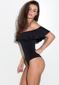 Body Blusa Feminina Com Babado Renda Ombro Ciganinha