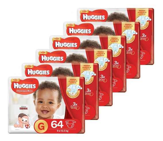 Kit De Fraldas Hiper Supreme Care G 384 Unidades Huggies
