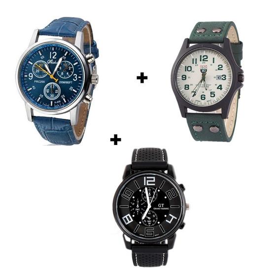 Kit 3 Relógios Masculinos Para Combinar Com Tudo Modernos