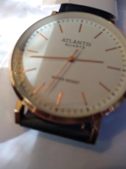 Relógio Atlantis Social Em Couro