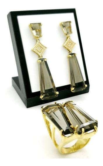 Anel Brincos Cravejados Zirconias Banho De Ouro 18k 384 403