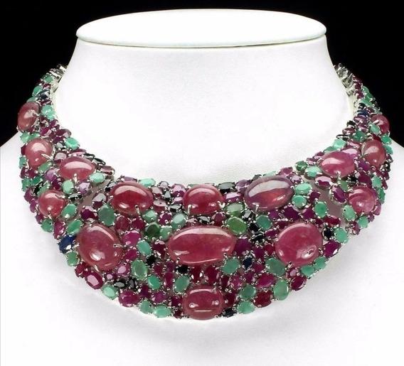 Collar De Rubi, Zafiros Y Esmeraldas Naturales Impresionante