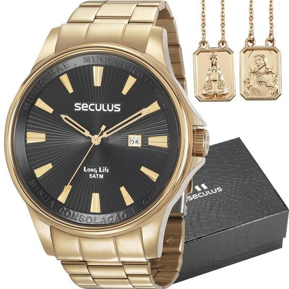 Relógio Masculino Seculus 35001gpskda1k1 Kit Escapulário
