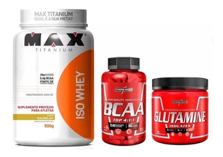 Iso Whey Max Titanium + Glutamina 300g + Bcaa 120 Capsulas
