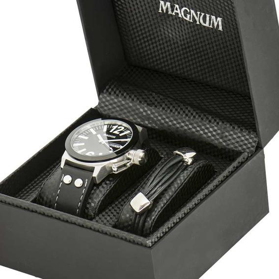 Kit Relógio Magnum Masculino Com Pulseira Original Ma31533c