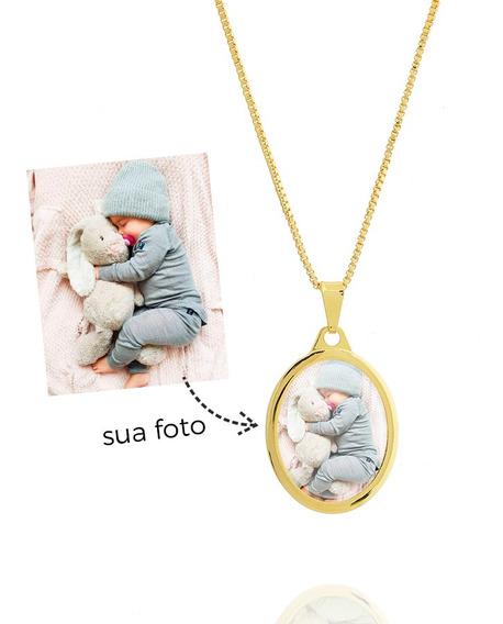 Colar De Foto Oval Pequeno Personalizado Semi Joia Dourado