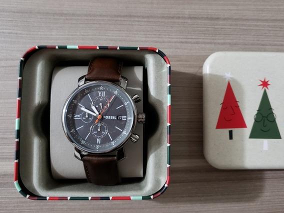 Relógio Fossil Like Style Bq2430 Original Couro Marron