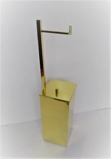 Papeleira De Piso C/ Lixeira Acoplada Dourada