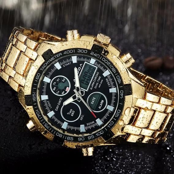 Relógio Digital Dourado Modelo Amuda Banhado A Ouro Boamigoo