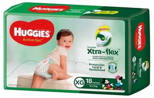 Pañales Huggies Active Sec  XG 18u