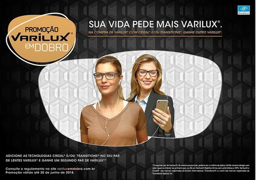 420cd12938 Lentes Varilux Multifocal Progressiva Transitions Seu Grau