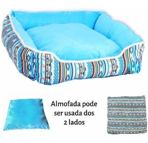 Cama Cachorro E Gato Caminha Pet Soft Inca C Almofada Azul M