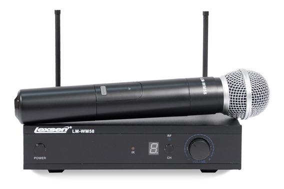 Microfone Sem Fio Lexsen Lm-wm58 Uhf 01 Bastão Pll 6 Canais