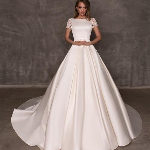 Vestido De Noiva Elegante Com Bolso Boho Chic Princesa Cetim