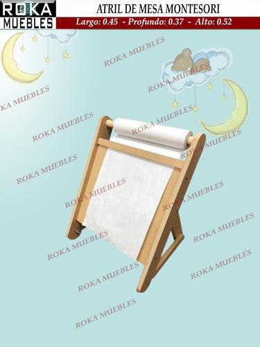 Atril Pizarra Para Mesa Montessori Con Porta Rollo Infantil