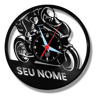 Moto Personalização Relógio Parede Vinil Disco Arte No Lp