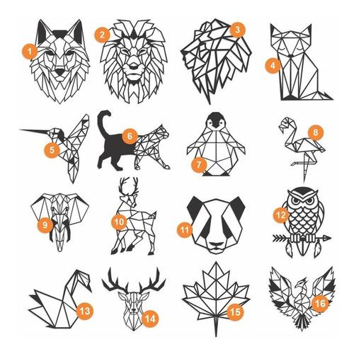 Imagem 1 de 5 de Quadro Decorativo Lobo Leão Raposa Animais Geometricos 60cm