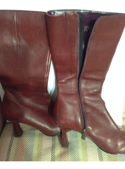 Botas De Cuero Bordo Nine West