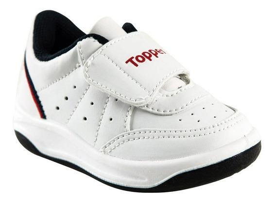 Zapatillas Topper Baby X Forcer Velcro Bla-azu-r De Bebes