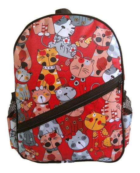 Mochila Infantil Estampa Gatos Vermelha